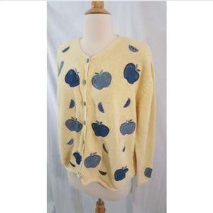 Christopher & Banks Yellow Apple cardi Sweater L